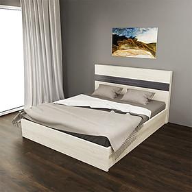 Giường Ngủ Hiện Đại Chân Thấp Màu Kem Sọc Xám Đẹp