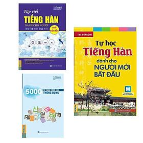 Combo 3 Cuốn Sách Tự Học Tiếng Hàn: Tự Học Tiếng Hàn Dành Cho Người Mới Bắt Đầu (Kèm CD Hoặc Tải App) - Tái Bản + 5000 Từ Vựng Tiếng Hàn Thông Dụng + Tập Viết Tiếng Hàn Dành Cho Người Mới Bắt Đầu / Tặng Kèm Bookmark Happy Life