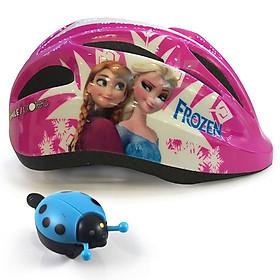 Nón Bảo Hiểm Xe Đạp Trẻ Em Cao Cấp Protec SMILE Họa Tiết Frozen Nữ Hoàng Băng Giá Tặng 1 Chuông Xe Đạp Hình Bọ Rùa Ngộ Nghĩnh - Hàng Chính Hãng