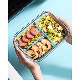 Hộp cơm trưa bằng thủy tinh chịu nhiệt chia ngăn phong cách Nhật Bản, có 4 khóa đóng kín, van xả hơi - tặng kèm thìa và đũa inox (giao màu ngẫu nghiên)