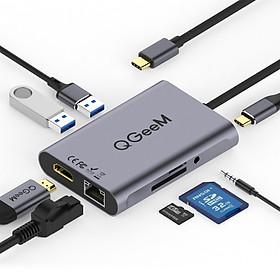 Bộ Hub USB C QGeeM 8 trong 1 4K USB sang HDMI, Type C sang Ethernet 1G, USB C sang USB 3.0 3.5mm AUX, đầu đọc thẻ Type C, Power Delivery (PD) 3.0- Hàng Chính Hãng