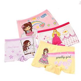 Bộ 4 quần chip đùi cho bé gái, vải cotton, 4 quần hình ảnh bé gái, công chúa khác nhau.