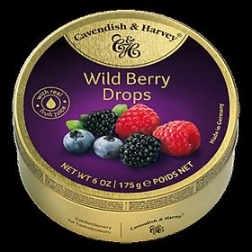 Kẹo Trái Cây Rừng Cavendish & Harvey (175g) Wild Berry Drops Hộp Thiếc Vàng Nhập Khẩu