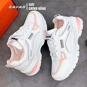 Giày thể thao sneaker nữ màu trắng hồng đế êm nhẹ thoáng khí thương hiệu ZAVAS - S396 - Hàng chính hãng