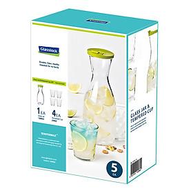 Bộ bình nước Glasslock GL1514-4 (1000ml) và cốc Glasslock (230ml x 4)