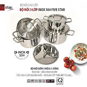 Bộ nồi xửng hấp inox 304 cao cấp Fivestar Plus 3 lớp đúc liền 4 chiếc nắp inox