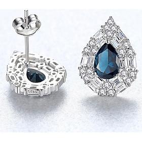 Bông tai hoa tai bạc nữ cao cấp đính đá tự nhiên bằng bạc s925 thật B2416 Bảo Ngọc Jewelry