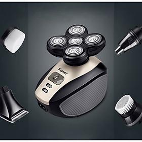 Máy cạo râu đa năng 5in1 Kemei-1000 chuyên nghiệp với 5 đầu thay thế dùng để cạo râu, cắt tóc, tỉa lông mũi, rửa mặt, massage