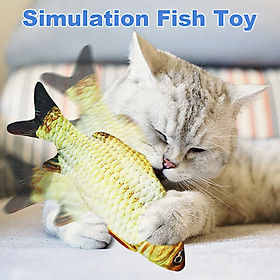Electric Moving Kicker Simulation Fish Toy Cat USB Charging Realistic Flopping Fish, Wiggle Fish Catnip Toys for Cat