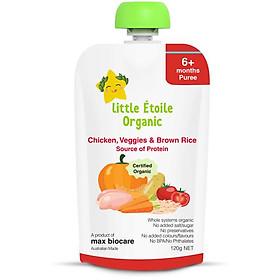 Thực phẩm ăn dặm hữu cơ Little Étoile Organic cơm gạo lứt vị gà và rau củ