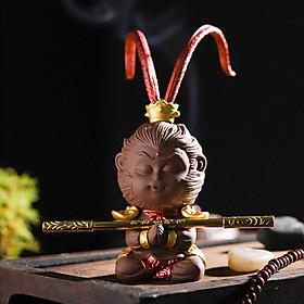 Tượng chibi Mỹ Hầu Vương 11.5cm bằng gốm tử sa - màu nâu chấp tay râu vểnh kèm gậy Như Ý