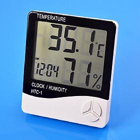 Đồng hồ để bàn màn hình led dùng để đo nhiệt độ, độ ẩm trong phòng Model HTC-1 (Tặng kèm miếng thép đa năng 11in1)