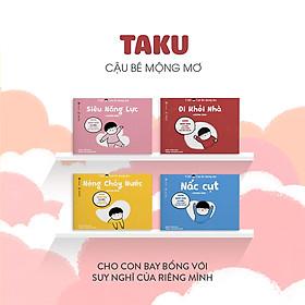 Combo 4 cuốn truyện tranh Ehon Nhật Bản - Taku Cậu bé mộng mơ (Đi khỏi nhà, Nấc cụt, Nóng chảy nước, Siêu năng lực) - Dành cho trẻ từ 2 - 8 tuổi