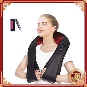 Đai Massage Thư Giãn Đa Năng 8 Đầu Massage Cho Cổ Vai Gáy Có Chức Năng Nhiệt Giúp Tăng Cường Lưu Thông Máu - Tặng kèm máy massage cầm tay Mini - Hàng nhập khẩu