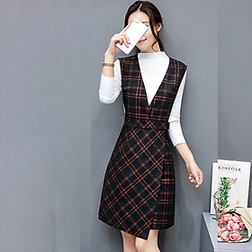 Women Casual O-Neck Long Sleeve Knee-Length Dress Female Elegant Plaid Dress Vintage A-Line Empire Autumn Office Lady Dress