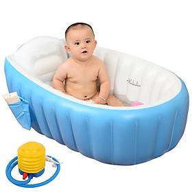 Chậu tắm hơi cho bé có ghế chống trượt kích thích phản xả bơi cho trẻ, Tặng bơm hơi (KT 98cm x 65cm x 28cm)