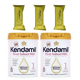 Combo 2 hộp Sữa bột nguyên kem KENDAMIL số 1 FIRST INFANT MILK 900g (0-6 tháng tuổi) – Tăng trưởng chiều cao và Phát triển trí não, tăng cân, tăng sức đề kháng – Tặng 3 bánh quế cuộn hiệu Kapad