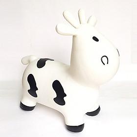 Thú nhún cao cấp Toys House chính hãng kèm bơm cho bé (mẫu bò trắng)