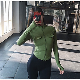 Áo khoác chạy bộ, tập gym, yoga, thể thao nữ dáng ngắn dài tay ôm body - Hàng cao cấp siêu co dãn