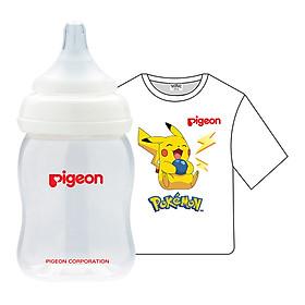 Combo Pigeon: Bình Sữa PP Plus 160ml + Áo Thun Pokemon - Trắng (Size Nhỏ)