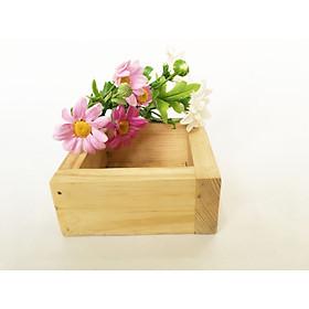 Chậu gỗ thông 10x10x5cm đa năng - cắm hoa / hộp đựng đồ / kệ trang trí