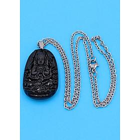 Hình đại diện sản phẩm Vòng cổ phật Thiên Thủ Thiên Nhãn - thạch anh đen 3.6cm DITTEB8 - dây inox bạc - tuổi Tý