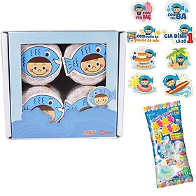 Hộp 4 lọ ruốc cá hồi Meiwa - tặng kẹo popin cookin soda + sticker