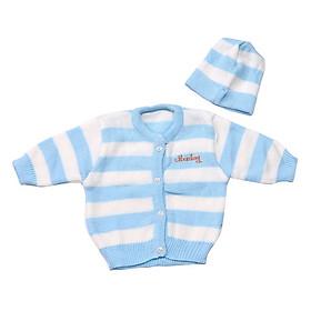 Bộ Áo Len Và Nón  sọc Giữ ấm Cho Bé sơ sinh(0-6 tháng)- ngẫu nhiên