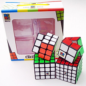 Combo 4 Rubik Qiyi Gift Box 2x2 3x3 4x4 5x5 Viền Đen