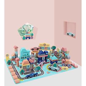 Đồ chơi gỗ thông minh, giáo cụ montessori -  Mô hình lắp ghép thành phố bằng gỗ cao cấp Urban Building Block 133 chi tiết