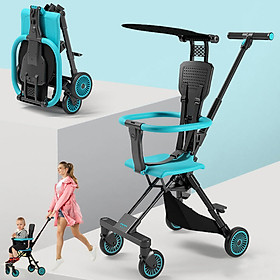 Xe đẩy du lịch đảo chiều gấp gọn siêu nhẹ Playkids có mái che nắng, trọng lượng chỉ 3,7kg, để được đằng trước xe máy, gấp gọn đựng được trong vali xách tay - TẶNG KÈM BẢNG NÚM GỖ CHO BÉ CHỦ ĐỀ NGẪU NHIÊN, Xe đẩy trẻ em, xe đẩy gấp gọn