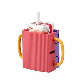 Cốc đựng hộp sữa tươi chống bóp cho bé quai cầm cho bé (màu hồng) - Hàng Nội Địa Nhật