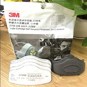 Mặt nạ phòng độc 3100 (size vừa) kèm 5 tấm lọc bụi 3744K và nắp giữ 3700 3M, môi trường bụi và hơi khói hàn