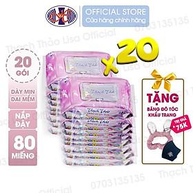 COMBO 20 GÓI- Khăn ướt Thạch Thảo Lisa hộp 80 tờ có nắp – An toàn cho da nhạy cảm