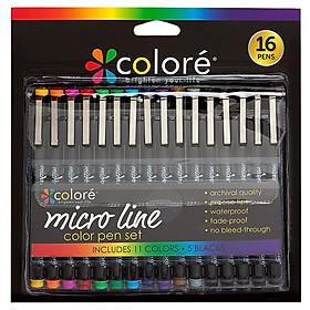 Colore 16Pcs/Set Ultra Fine Tip Micro Line Color Pen Set Painting Drawing Pens Art Supplies