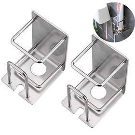 Set 2 hộp Inox SUS304 đựng bàn chải, kem đánh răng, ly súc miệng 3 trong 1 dán tường gạch men - Có sẵn keo dán - HOBBY CD5