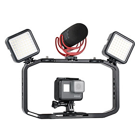 Handheld Video Rig for DSLR Camera Phone Gopro Vertical Shooting Phone Cage for Canon Nikon iPhone Xs Max X 8 7 Gopro 5 6 7