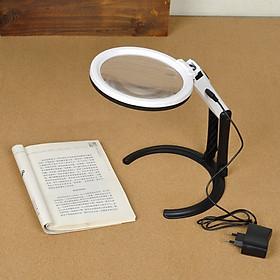 Kính lúp cầm tay kiêm để bàn có đèn ( độ phóng đại 5 lần, hình ảnh sắc nét)- (Tặng 3 nút kẹp cao su giữ dây điện- màu ngẫu nhiên)
