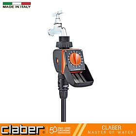 Bộ Hẹn Giờ Tưới Cây Tự Động 15 Kênh Vặn Claber Aquauno Logica 8422, ngõ vào ren 27mm, dùng pin 9V, 2 lần tưới trong ngày