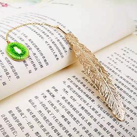 Bookmark Kim Loại Đánh Dấu Sách Hình Lông Vũ Dây Treo - Kiwi