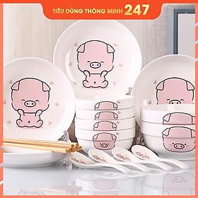Bộ 15 món chén đĩa gốm sứ cao cấp 4 người ăn - Tặng kèm bộ đũa và miếng lót xinh xắn - Họa tiết heo con