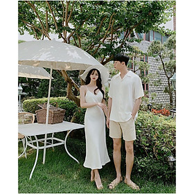 Set đồ đôi áo váy cặp CoupleTina  cao cấp  - Màu trắng tinh khôi - Mẫu HOT TREND