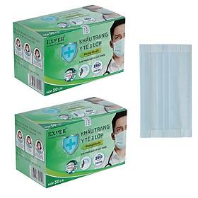 Combo 2 hộp khẩu trang y tế EXPER 3 lớp kháng khuẩn, mỗi hộp 50 cái. Sản phẩm khẩu trang y tế quai vải dán cao cấp công nghệ Nhật