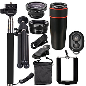 10PCS 12X Telephoto Universal Mobile Phone Lens Kits Wide Angle + Fish Eye + Macro Lens + Selfie Stick + Tripod for