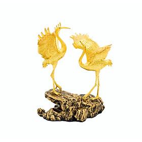 Quà tân gia cao cấp: Tượng Đôi Hạc Phúc Lộc mạ- vàng 24K
