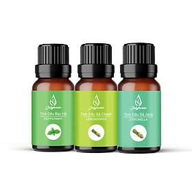 Combo 3 tinh dầu giảm stress JULYHOUSE: Tinh dầu Sả Chanh - Tinh dầu Bạc Hà - Tinh dầu Sả Java 10ml/chai