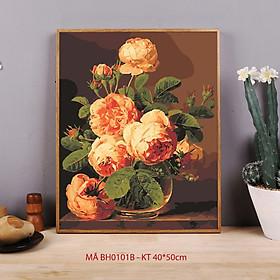 Tranh sơn dầu số hóa tự vẽ mã BH0101B Tranh lọ hoa tĩnh vật cổ điển