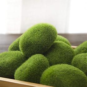 Bịch 6 cục đá rêu giả - rêu đá nhân tạo phủ cỏ xanh, trang trí.