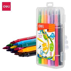 Bút màu nước ( Hộp nhựa ) Deli - 12 màu/24 màu - 1 hộp - EC10304/EC10324