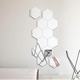 Bộ 12 miếng gương dán tường 3D hình lục giác (giao màu ngẫu nhiên)